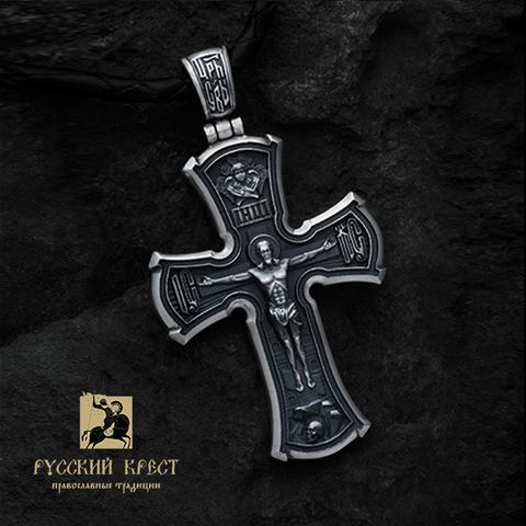 Серебряный крестик Распятие. Пресвятая Богородица