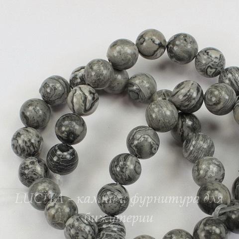 Бусина Яшма Пейзажная, шарик, цвет - серый, 8 мм, нить