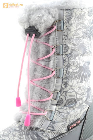 Зимние сапоги для девочек с мембраной KINGTEX Какаду (Kakadu) на молнии и шнурках, цвет серый. Изображение 13 из 15.