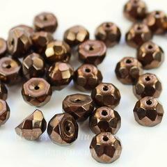 Бусина Hill Полусфера с огранкой, 8 мм, темно-коричневая