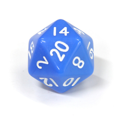 Голубой двадцатигранный кубик (d20) для ролевых и настольных игр