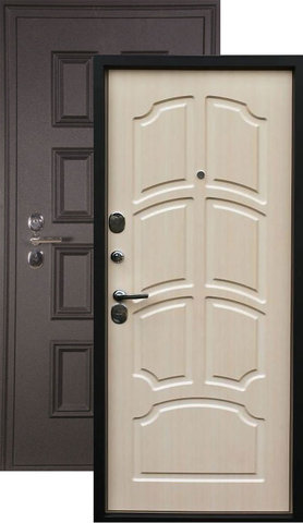 Дверь входная L-5 стальная, лён светлый, 2 замка, фабрика Арсенал