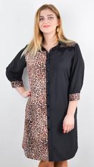 Сандал. Весеннее платье-рубашка больших размеров. Леопард беж.