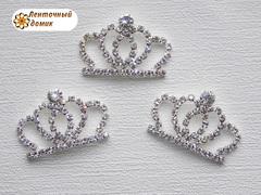 Серебряная стразовая округлая корона №5