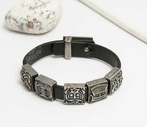 BD000-911 Мужской браслет в скандинавском стиле из кожи и бронзы