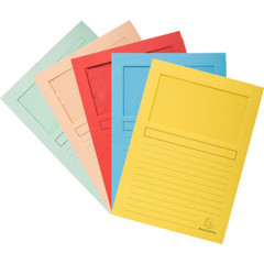 Папка уголок с окном, картонная, цвета в ассортимент, 10 шт.уп.