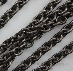 Винтажная цепь (звено 7х6 мм) (черный никель), 10 cм