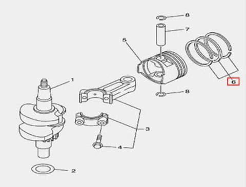 Кольцо поршневое для лодочного мотора F5 Sea-PRO(3-6-1)