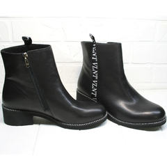 Итальянские полусапожки женские Jina 6845 Leather Black.