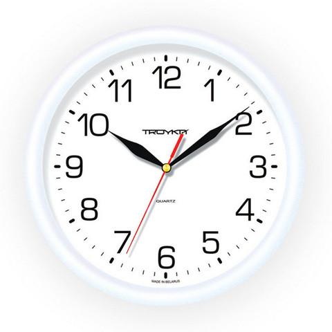 Часы настенные Troyka 21210213 круг., d245мм, плав.ход, пластик