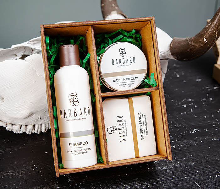 Набор средств «BARBARO» из шампуня, мыла для лица и глины для волос