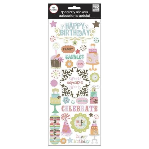 Стикеры ацетатные со стразами  mambi Specialty Stickers Happy Birthday 13х30 см
