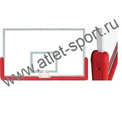 Щит баскетбольный профессиональный, закаленное стекло 10 мм, металлическая рама, протектор нижней части щита, р-р 1800х1050мм. (FIBA approved)