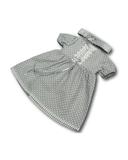 Платье хлопок с кружевом - Серый. Одежда для кукол, пупсов и мягких игрушек.