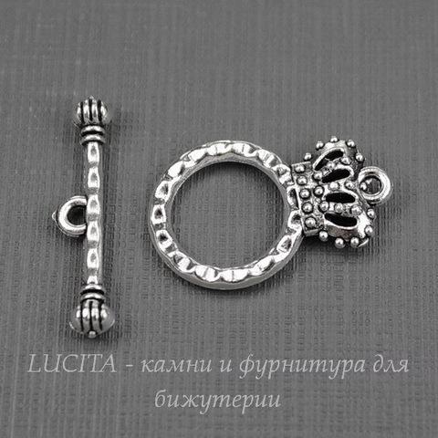 "Замок - тоггл из 2х частей ""Корона"" 23х15 мм, 25 мм (цвет - античное серебро)"