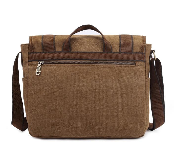 BAG390-2 Удобный мужской портфель из ткани цвета хаки с ремнем на плечо (вмещает А4) фото 04