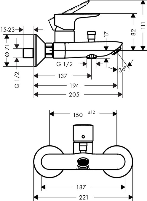 Смеситель для ванны Hansgrohe ВМ 71740000 Talis E