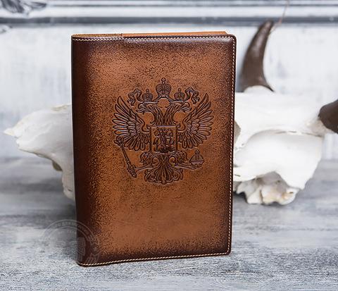 Подарочный ежедневник в кожаной обложке с гербом РФ, тиснение