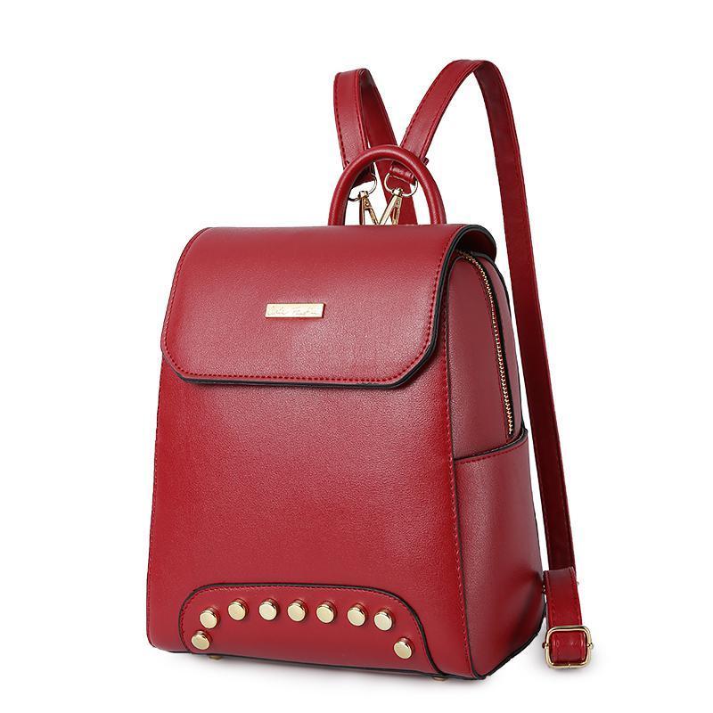 Женский средний рюкзак 22х25х12 см красный 2576-2