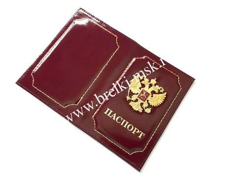 Обложка для паспорта из натуральной гладкой кожи с гербом РФ. Цвет Бордовый