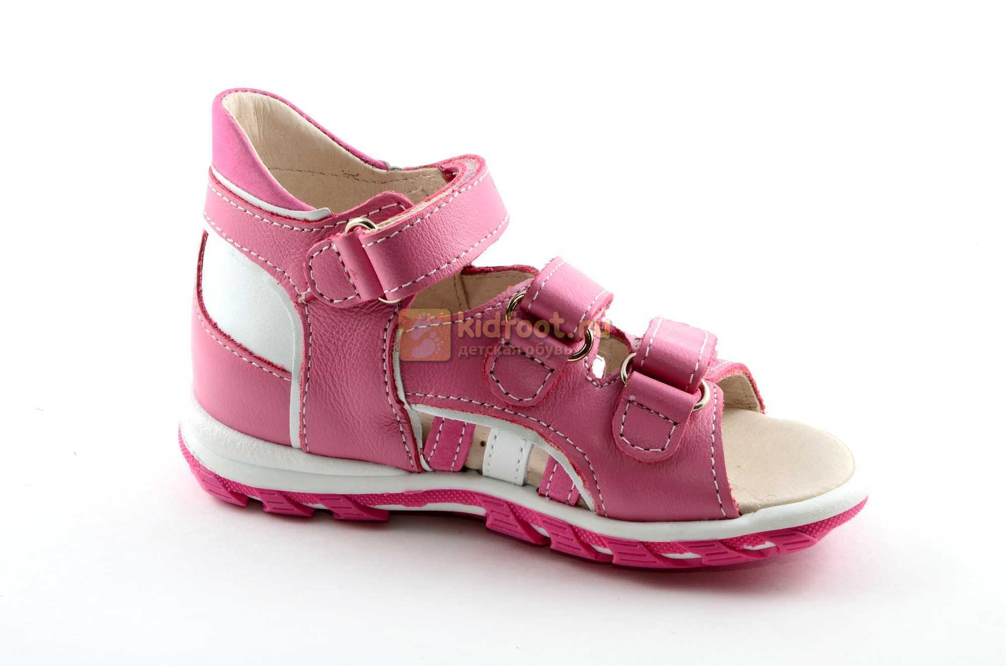 Босоножки Тотто из натуральной кожи с открытым носом для девочек, цвет розовый белый