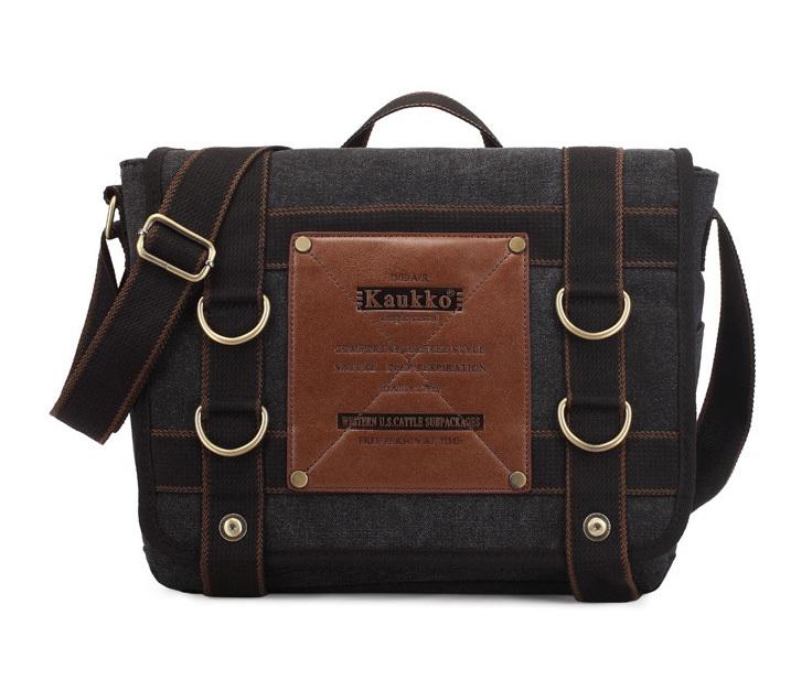 BAG390-1 Удобный мужской портфель из ткани черного цвета с ремнем на плечо (вмещает А4) фото 02