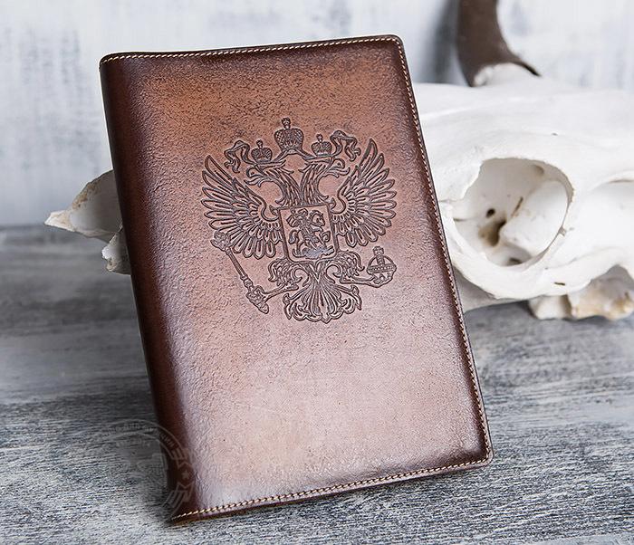 BY05-02-01 Подарочный кожаный ежедневник с гербом РФ, тиснение фото 02