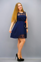 Маки. Легкое платье. Синий норма.