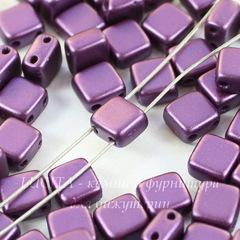 Бусина Tile mini Квадратная плоская с 2 отверстиями, 5 мм, пастельно-фиолетовая