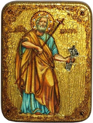 Инкрустированная икона Первоверховный апостол Петр 20х15см на натуральном дереве в подарочной коробке