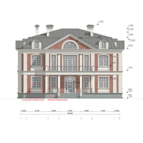Подоконник закладной из архитектурного бетона на фасаде дома