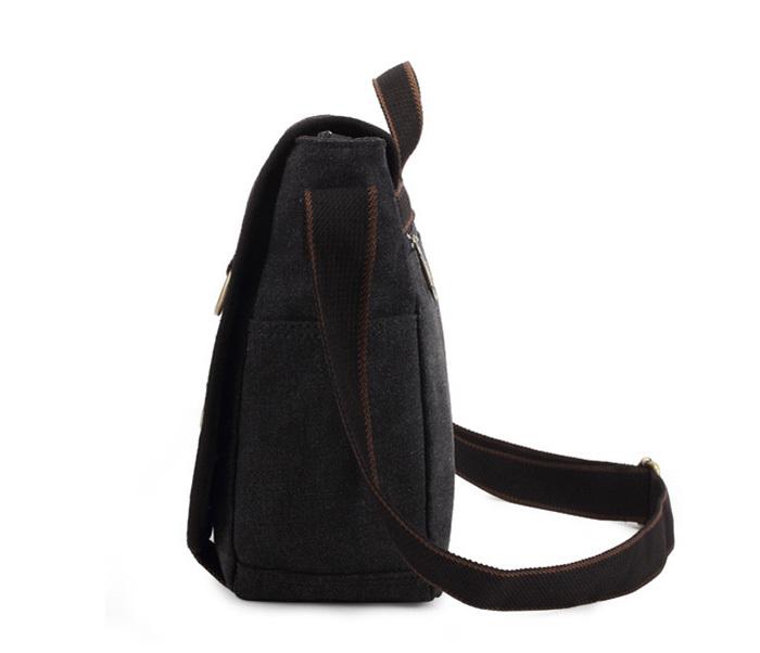 BAG390-1 Удобный мужской портфель из ткани черного цвета с ремнем на плечо (вмещает А4) фото 03