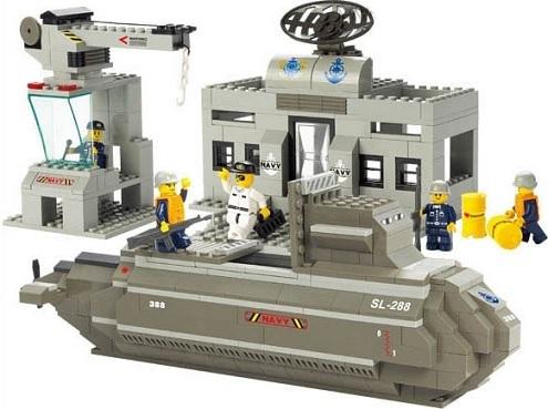 Конструктор серия Армия База ВМФ и подводная лодка
