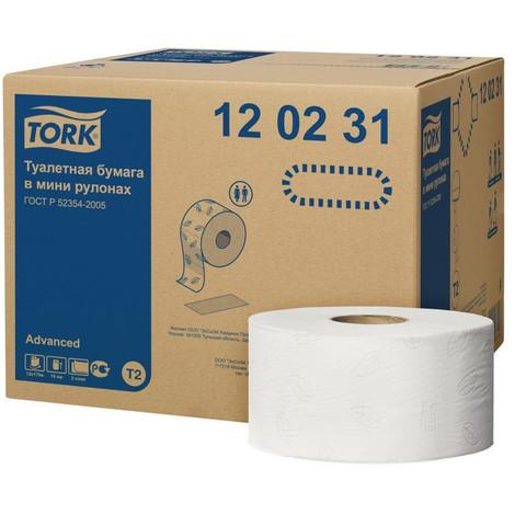 Бумага туалетная д/дисп Tork T2 Advanced mini 2сл бел втор170м 12рул 120231