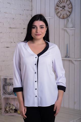 Ольга. Стильная комбинированная блуза. Белый