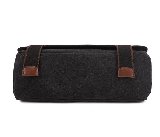 BAG390-1 Удобный мужской портфель из ткани черного цвета с ремнем на плечо (вмещает А4) фото 05