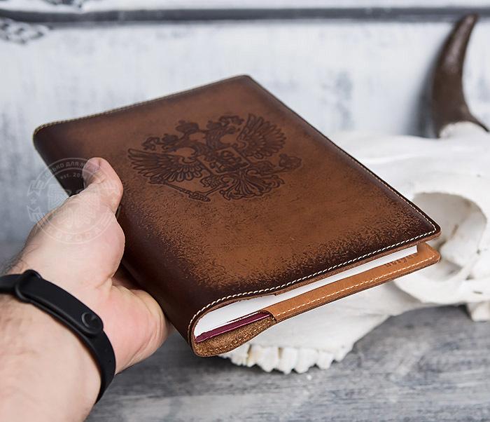 BY05-02-01 Подарочный кожаный ежедневник с гербом РФ, тиснение фото 05