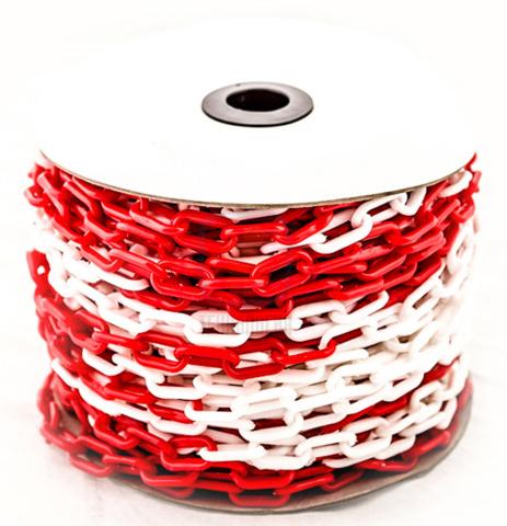 Цепь пластиковая красно-белая, 8мм, Бухта 50 м