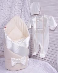 Комплект на выписку для мальчика Beauty молочный