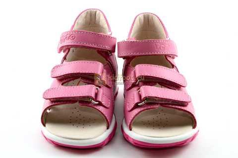 Босоножки Тотто из натуральной кожи с открытым носом для девочек, цвет розовый белый. Изображение 5 из 12.