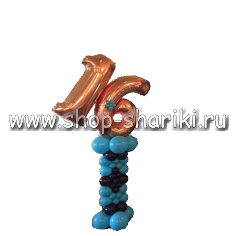 shop-shariki.ru колонна из шаров с цифрой 16