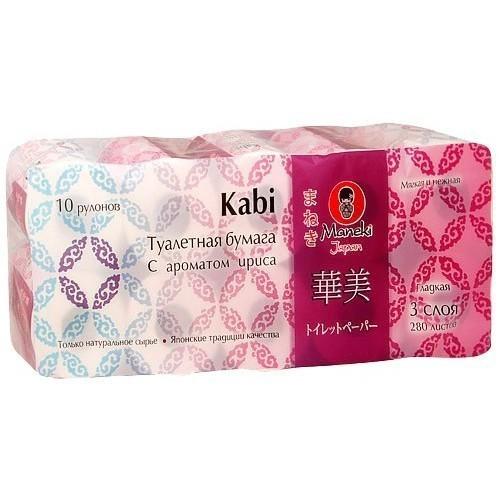 Бумага туалетная, MANEKI, Kabi, белая, 3 слоя, ирис, 10 рулонов, 39.2 м