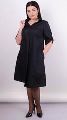 Пальмира. Стильное платье-рубашка plus size. Черный.
