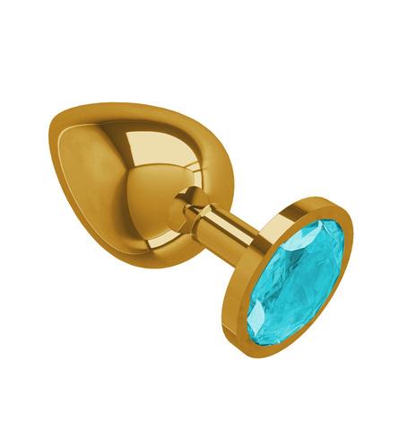 Gold Анальная втулка с Голубым кристаллом большая