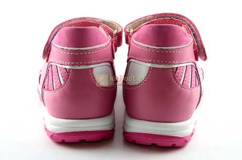 Босоножки Тотто из натуральной кожи с открытым носом для девочек, цвет розовый белый. Изображение 7 из 12.