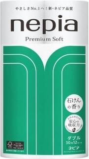 Бумага туалетная двухслойная, NEPIA, Premium Soft, аромат мыла 30 м, 12 рулона
