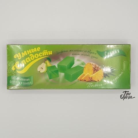 Конфеты желейные ананас - зеленая груша в глазури УМНЫЕ СЛАДОСТИ, 90 гр
