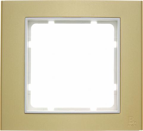 Рамка на 1 пост алюминий. Цвет Золотой/полярная белизна. Berker (Беркер). B.3. 10113046