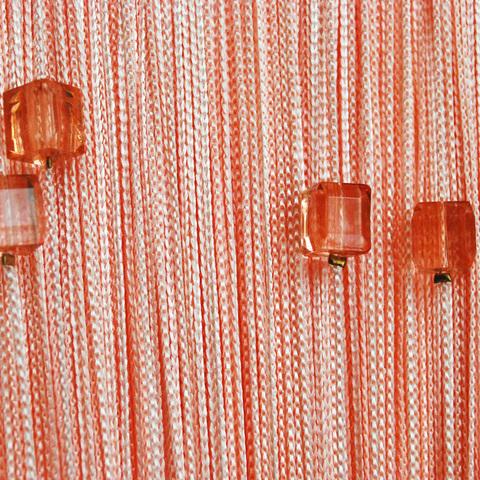 Нитяные шторы с бусинами (кубики) - Персиковые. Ширина - 300 см., Высота - 280 см. Арт.209