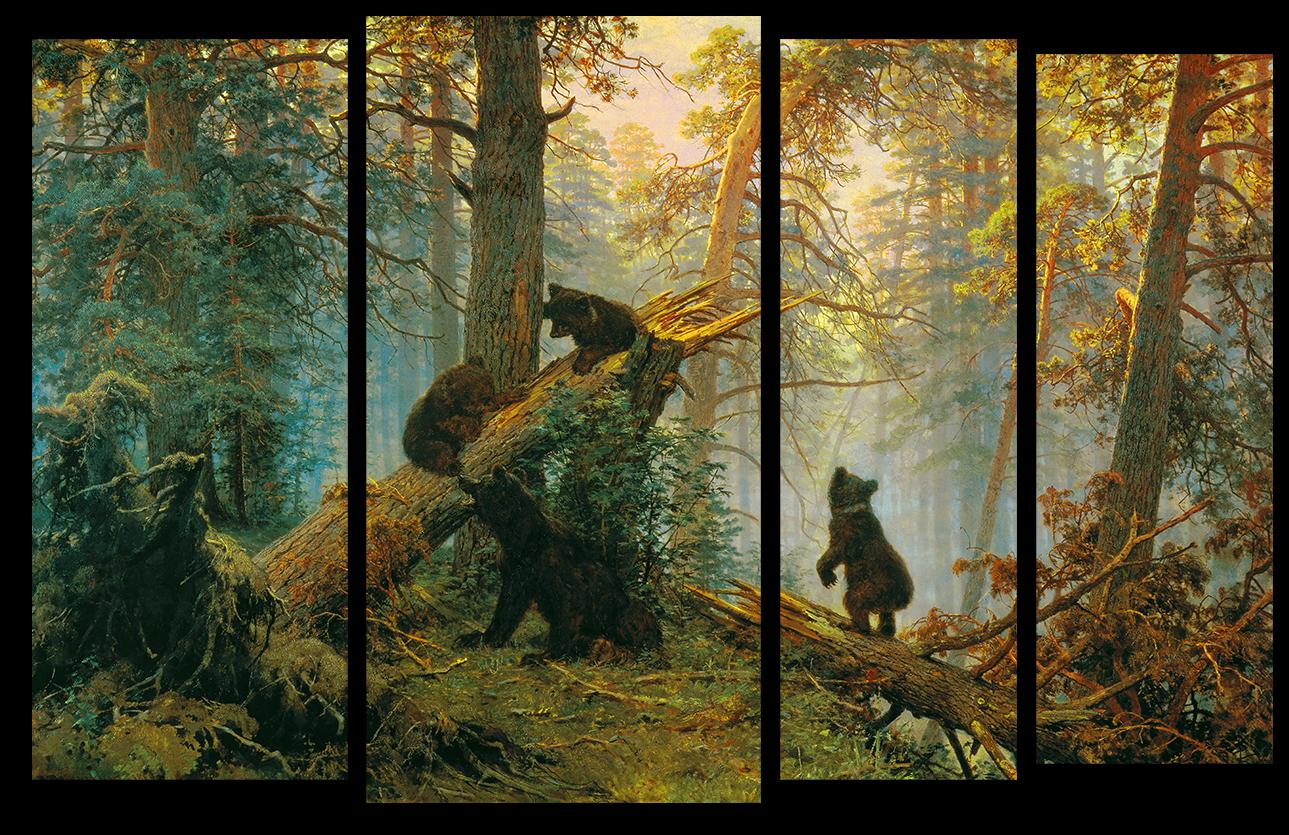 """Природа Модульная картина """"Утро в сосновом лесу"""" М990.png"""